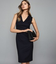 Dress Summer of 2019 navy blue Middle-skirt singleton  Sleeveless commute V-neck middle-waisted Solid color Socket A-line skirt routine Others Type A Ol style Panel, zipper 71% (inclusive) - 80% (inclusive) other wool