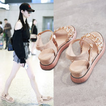 Sandals 35 36 37 38 39 BEIGE BLACK Other / other Sheepskin (except cashmere / cashmere) Barefoot Muffin bottom Middle heel (3-5cm) Summer of 2018 Flat buckle Korean version Solid color Adhesive shoes Youth (18-40 years old) polyurethane daily Ankle strap Low Gang Lateral space Sheepskin Roman shoes