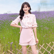 Fashion suit Summer 2021 S M L Pink - two piece set 18-25 years old ATAR T1455-2 Polyester 100% Pure e-commerce (online only)