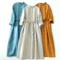 Dress Spring 2021 M, L Mid length dress singleton  Long sleeves commute Loose waist Solid color Socket Big swing Others Type X literature More than 95% hemp