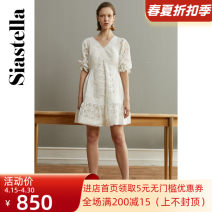 Dress Summer 2020 white XS,S,M Short skirt singleton  elbow sleeve commute V-neck High waist Solid color Socket other other Others 30-34 years old Siastella lady 1E2B1LQ680210 More than 95% polyester fiber