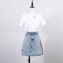 skirt Autumn 2020 M L XL S White black light blue Short skirt Versatile High waist A-line skirt 25-29 years old XC20Q01702 More than 95% Vanilla forest cotton Cotton 100%