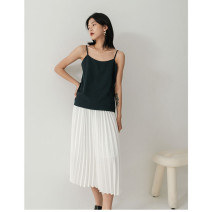skirt Spring 2021 Average size White, gray, black, brown Mid length dress commute High waist Pleated skirt Solid color Type A More than 95% polyester fiber fold Simplicity
