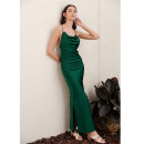 Dress Summer of 2019 Dark green, champagne, black, Burgundy XS,S,M,L longuette singleton  Sleeveless commute Dangling collar High waist Solid color Socket other camisole 25-29 years old Type A The shadow of the skirt Retro Open back, lace up Silk and satin polyester fiber