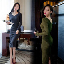Dress Spring 2020 Army green, black, grey S,M,L,XL Short skirt singleton  Long sleeves commute V-neck middle-waisted Solid color Socket puff sleeve 18-24 years old More than 95% brocade cotton