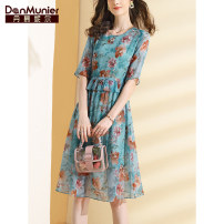 Dress Summer 2021 blue ground 155/80A/S 160/84A/M 165/88A/L 170/92A/XL 175/96A/XXL Mid length dress singleton  elbow sleeve commute Crew neck High waist Decor Socket A-line skirt routine Others 35-39 years old Type X Danmunier lady More than 95% silk Mulberry silk 100% Pure e-commerce (online only)