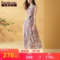 Dress Summer 2020 Decor 155/80A/S 160/84A/M 165/88A/L 170/92A/XL 175/96A/XXL longuette singleton  Sleeveless commute Crew neck middle-waisted Decor Socket A-line skirt Others 35-39 years old Type A Danmunier lady More than 95% polyester fiber Polyester 100% Pure e-commerce (online only)