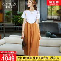 Dress Summer 2021 Color matching of white and orange S M L XL Mid length dress singleton  Short sleeve street Crew neck Loose waist other Socket A-line skirt routine Others 35-39 years old Kamilan kamilan Splicing KML21B14046 More than 95% cotton Cotton 100% Europe and America