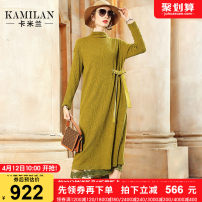 Dress Autumn of 2019 Yellow royal blue S M L XL Mid length dress singleton  Long sleeves street stand collar middle-waisted Solid color Socket A-line skirt routine Others 35-39 years old Type A Kamilan kamilan Embroidered lace KML19D2120 81% (inclusive) - 90% (inclusive) wool Europe and America
