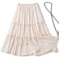 skirt Spring 2021 S,M,L Black, apricot longuette commute High waist Pleated skirt Solid color Type A 25-29 years old Lucky fashionista 00342 91% (inclusive) - 95% (inclusive) Chiffon Other / other other fold lady