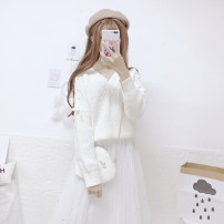 sweater Winter of 2018 Average size White, pink Long sleeves Socket singleton  Regular acrylic fibres 95% and above V-neck Regular commute routine Solid color Straight cylinder Coarse wool Keep warm and warm 18-24 years old ten point four