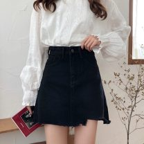 skirt Summer 2021 S,M,L,XL black Short skirt commute High waist A-line skirt Solid color Type A 18-24 years old 30% and below Denim other Korean version