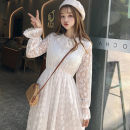 Dress Autumn of 2019 Apricot, white Average size Middle-skirt singleton  Long sleeves commute Lotus leaf collar Elastic waist Socket Big swing pagoda sleeve 18-24 years old Other / other Korean version bow 31% (inclusive) - 50% (inclusive) Lace polyester fiber