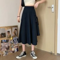 skirt Spring 2021 Average size White, black Mid length dress 18-24 years old 30% and below other polyester fiber