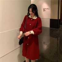 Dress Winter 2020 Red, black Average size Miniskirt singleton  Polo collar Loose waist Single breasted A-line skirt routine Type A 31% (inclusive) - 50% (inclusive) cotton
