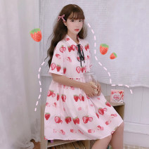 Dress Summer of 2019 Picture color Average size Miniskirt singleton  Short sleeve Sweet Polo collar High waist Three buttons other routine Others 18-24 years old Type H Other / other college