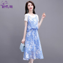 Dress Summer 2021 Blue background white black background blue apricot coffee black background white black background red M L XL XXL XXXL Mid length dress singleton  Short sleeve commute Crew neck High waist Broken flowers Socket A-line skirt routine Others 25-29 years old Hangyi Pavilion HYG2118066