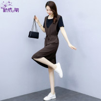 Dress Summer 2021 Coffee black M L XL Mid length dress singleton  Short sleeve commute Crew neck High waist Solid color Socket A-line skirt routine Others 25-29 years old Hangyi Pavilion Korean version Three dimensional decoration with lace up pocket HYG213097 91% (inclusive) - 95% (inclusive)