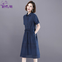 Dress Summer 2021 Deep blue red M L XL XXL XXXL longuette singleton  Short sleeve commute Polo collar High waist Solid color Single breasted A-line skirt routine Others 25-29 years old Hangyi Pavilion Korean version Three dimensional decorative button with lace up pocket HYG21052147 cotton