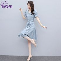 Dress Summer 2021 Cure blue Begonia red black M L XL Mid length dress singleton  Short sleeve commute V-neck High waist Solid color Socket Irregular skirt puff sleeve Others 25-29 years old Hangyi Pavilion Korean version Three dimensional decorative zipper with lace up HYG2161721 cotton