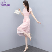 Dress Summer 2021 Pink Navy M L XL XXL Mid length dress singleton  Short sleeve commute Crew neck High waist other Socket A-line skirt routine Others 25-29 years old Hangyi Pavilion Korean version Three dimensional decorative zipper with pleated stitching HYG21216683 More than 95% Chiffon