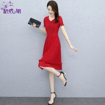 Dress Summer 2021 Royal Blue Red Black M L XL XXL XXXL Middle-skirt singleton  Short sleeve commute V-neck High waist Solid color Socket A-line skirt puff sleeve Others 25-29 years old Hangyi Pavilion Korean version Three dimensional decoration of inlaid diamond fold splicing HYG212153 More than 95%
