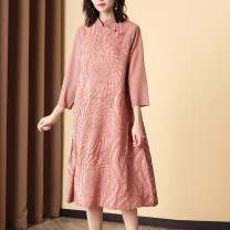 Dress Summer 2020 Pink, dark blue, Chinese red Average size Mid length dress singleton  three quarter sleeve commute stand collar Socket routine ethnic style Fold, embroidery