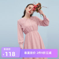 Dress Spring of 2019 Pink S/160,M/165,L/170 Mid length dress singleton  Long sleeves Sweet other Elastic waist Solid color Socket Pleated skirt puff sleeve Others 18-24 years old Time road / Domino Hollow, lace T22133191213X More than 95% polyester fiber Countryside