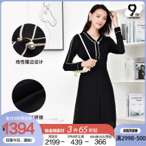 Dress Winter 2020 black 38/M 40/L 42/XL 44/XXL 46/XXXL Mid length dress Fake two pieces Long sleeves commute Crew neck middle-waisted Solid color zipper A-line skirt routine 35-39 years old Type H Naersi / nals lady NF03571W 30% and below nylon Same model in shopping mall (sold online and offline)