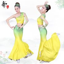 National costume / stage costume Spring of 2018 Yellow green gradient, blue white gradient Xs, s, m, l, XL, custom Dz025 Zhao Ming combination yellow green gradient Other / other