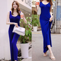 Dress Summer of 2019 Blue, black XS,S,M,L,XL,2XL,3XL longuette singleton  Sleeveless commute Crew neck middle-waisted Solid color Socket One pace skirt routine Others Korean version backless More than 95% cotton