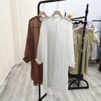 Dress Summer 2021 Rice white, coffee Average size Mid length dress Long sleeves commute stand collar Cangyi-2-3 More than 95% other