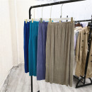 skirt Summer 2021 Small, large Black, emerald green, purple, beige, beige, royal blue Mid length dress Versatile Natural waist Solid color 25-29 years old Eight @ g-3-4 91% (inclusive) - 95% (inclusive) other