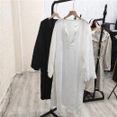 Dress Summer 2021 White, black Average size longuette singleton  Long sleeves commute Loose waist Solid color Socket 25-29 years old Eight @ m-4-4 51% (inclusive) - 70% (inclusive)
