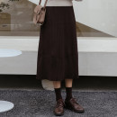 skirt Winter 2020 Average size Black, grey, brown longuette commute High waist A-line skirt Solid color Type A 18-24 years old knitting polyester fiber Korean version