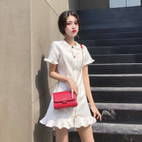 Dress Summer of 2019 White, give a white base suspender skirt S,M,L,XL Middle-skirt singleton  Short sleeve commute Crew neck High waist Solid color Ruffle Skirt Others 25-29 years old Type H Other / other Retro Lotus leaf edge