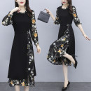 Dress Spring 2021 Picture color, floral skirt, short sleeve M (recommended 90-105 kg), l (recommended 105-120 kg), XL (recommended 120-135 kg), 2XL (recommended 135-152 kg), 3XL (recommended 152-168 kg), 4XL (recommended 168-180 kg), 5XL (recommended 180-200 kg) Mid length dress Fake two pieces other