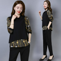 Women's large Spring of 2019 black L (recommended 95-111 kg), XL (recommended 112-128 kg), 2XL (recommended 129-145 kg), 3XL (recommended 146-165 kg), 4XL (recommended 166-182 kg), 5XL (recommended 183-200 kg) Other oversize styles Two piece set commute easy moderate Socket Long sleeves Crew neck