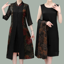 Middle aged and old women's wear Summer 2021 black L (recommended below 100 kg), XL (recommended 100-120 kg), XXL (recommended 120-140 kg), 3XL (recommended 140-160 kg), 4XL (recommended 160-180 kg) fashion Dress Self cultivation Two piece set Flower and bird pattern 40-49 years old Cardigan thin