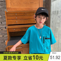 T-shirt The lake is blue and white Xiaoxing 130cm,140cm,150cm,160cm,170cm male summer Short sleeve Crew neck leisure time There are models in the real shooting nothing Pure cotton (100% cotton content) other Cotton 100% Tdtx21703 Class B Sweat absorption
