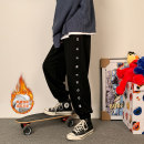 Casual pants hammerman  Youth fashion Grey black S M L XL 2XL Plush and thicken trousers motion easy Micro bomb HMOOQJ1445 Four seasons teenagers tide 2020 middle-waisted Little feet Polyethylene terephthalate (polyester) 100% Sports pants Arrest line No iron treatment Alphanumeric Autumn 2020