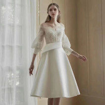 Dress Spring 2021 white XS,S,M,L,XL Middle-skirt singleton  three quarter sleeve commute One word collar High waist Solid color zipper A-line skirt bishop sleeve Others 30-34 years old Type A Other / other Zipper, lace MMS3027 71% (inclusive) - 80% (inclusive) other other