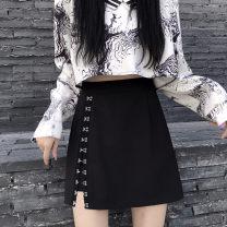 skirt Autumn 2020 S,M,L,XL,2XL,3XL,4XL black Short skirt commute High waist A-line skirt Solid color Type A 25-29 years old 71% (inclusive) - 80% (inclusive) brocade polyester fiber Asymmetry, cloth sticking, buckle hanging Korean version