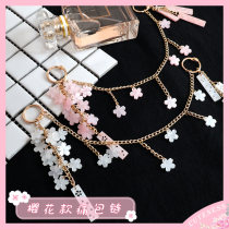 Cuteness   lovely Pink cherry blossoms Pain package chain   diy manual customized quadratic element Transparent bag parts Pendant