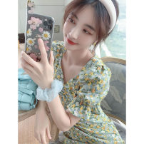 Women's large Summer 2020, summer 2021 Green flower [dress], collection and purchase priority delivery Large L, large XL, s, M singleton  commute Short sleeve Decor Korean version V-neck polyester fiber Lotus leaf sleeve 18-24 years old Middle-skirt