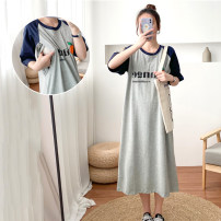 Nursing clothes Grey lactation L,XL,2XL,3XL You Li ma mi Socket summer Short sleeve have more cash than can be accounted for leisure time Dress Solid color Side opening cotton