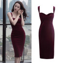Dress Spring 2021 claret S,M,L,XL Mid length dress singleton  Sleeveless commute other High waist Solid color zipper One pace skirt other straps Type H Korean version Splicing 31% (inclusive) - 50% (inclusive) other other
