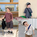 T-shirt White cotton hemp Short Sleeve T, brick red cotton hemp Short Sleeve T, dark grey cotton hemp short sleeve t A Xiaoxuan 110cm, 130cm, 140cm, 150cm, 120 (Xiaoxuan size) neutral summer Short sleeve Crew neck leisure time There are models in the real shooting nothing other other other