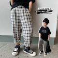 trousers A Xiaoxuan male 90cm, 100cm, 110cm, 130cm, 140cm, 150cm, 120 (model size) Black and white daddy pants spring and autumn trousers leisure time There are models in the real shooting Sports pants Leather belt middle-waisted other Don't open the crotch Chinese Mainland Jiangsu Province