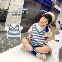 T-shirt Blue V-neck with two short sleeves A Xiaoxuan 90cm, 100cm, 110cm, 130cm, 140cm, 150cm, 120 (Xiaoxuan size) neutral summer Short sleeve Crew neck leisure time There are models in the real shooting nothing other other other Chinese Mainland Jiangsu Province Nanjing City